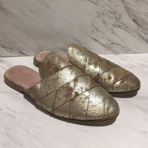 Seychelles metallic gold survival mule size 10